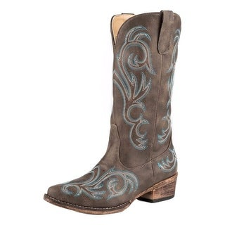 Roper Western Boots Womens Riley Emb Brown