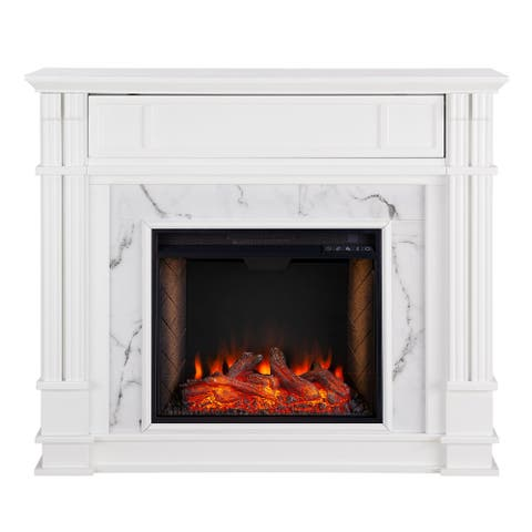 """58"""" White and Gray Whiskey Traditional Style Smart Alexa Electric Fireplace"""