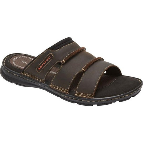Rockport Men's Darwyn Slide Brown II Leather