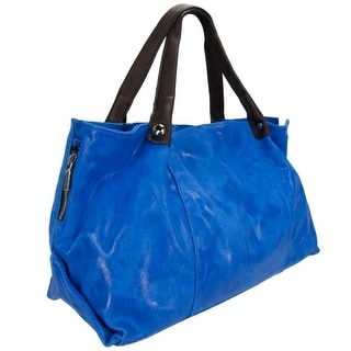 HS 5192 BLU CHIARA Made in Italy Blue Leather Soft Shimmery Tote/Shoulder Bag