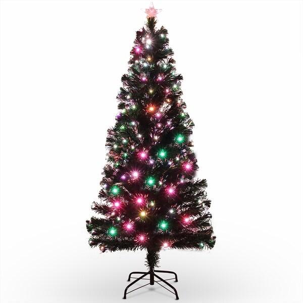 Fiber Optic Light Christmas Tree: Shop BELLEZE 6FT Premium Fiber Optic Artificial Red Light