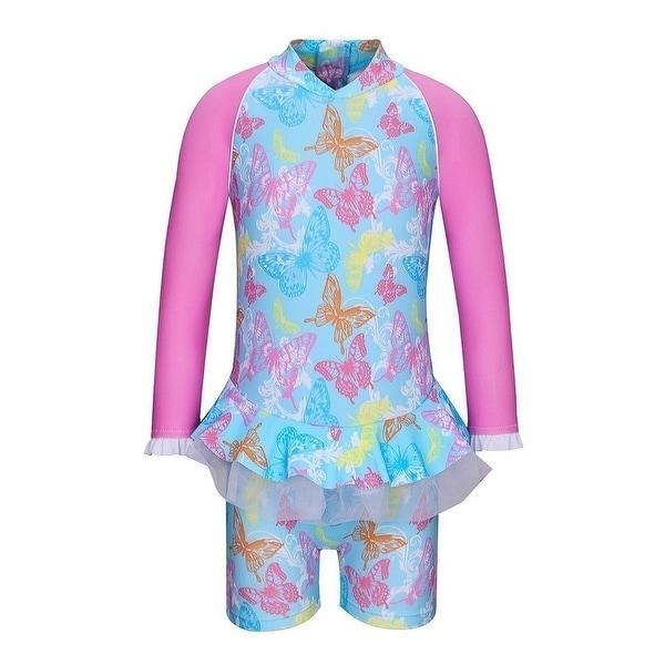 Sun Emporium Baby Girls Blue Butterfly Garden Long Sleeve Sun Suit