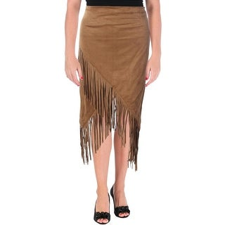 Olivaceous Womens Lined Faux Suede Pencil Skirt