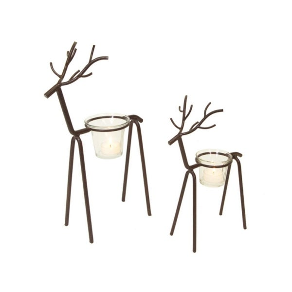 Set of 2 In the Birches Metal Stick Deer Christmas Tea Light Candle Holders