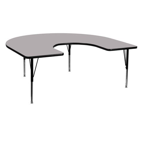 Offex 60''W x 66''L Horseshoe Activity Table with Grey Thermal Fused Laminate Top and Height Adjustable Pre-School Legs - N/A