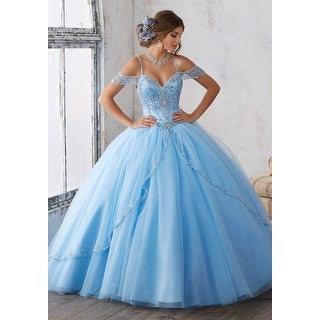 Beaded Tulle Cold Shoulder Ball Gown