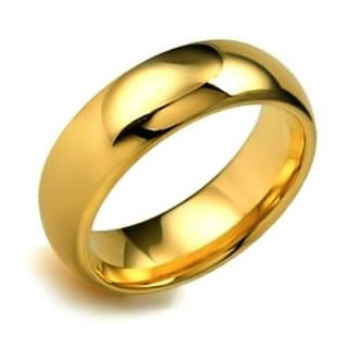 Dome Couples Wedding Band Polished Gold Plated Titanium Rings 8MM