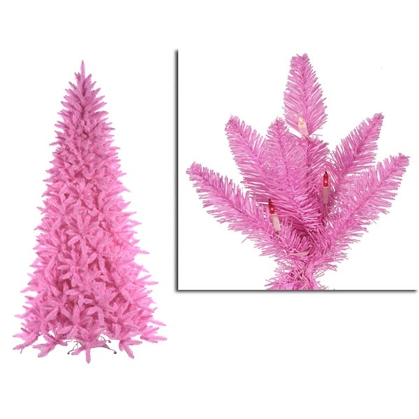 12' Pre-Lit Slim Pink Ashley Spruce Christmas Tree - Clear & Pink Lights