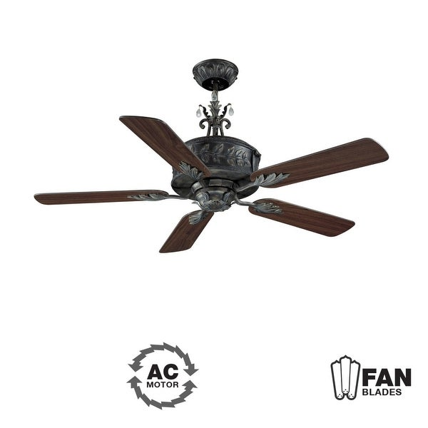 "Ellington Fans ANT54AV5WCR Traditional 54"" 5 Blade Indoor Ceiling Fan - Blades Included - aged verde"