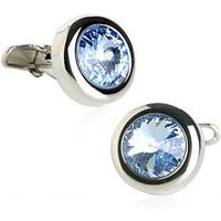 Austrian Crystal Solitare In Light Sapphire Blue Cufflinks
