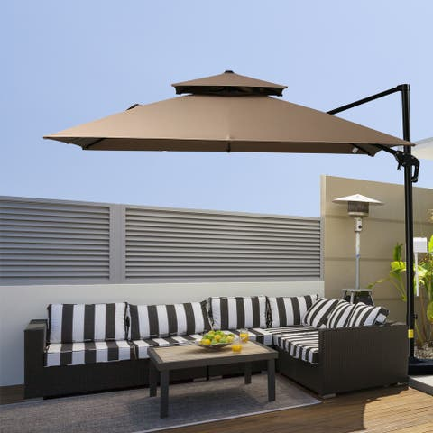 Outsunny 10' 2-Tier Canopy Cantilever Patio Umbrella with Rotating Base & 5-Position Tilt