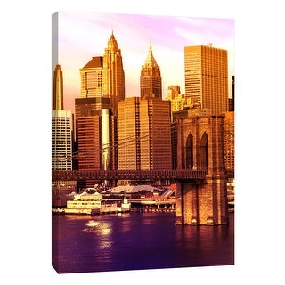"""PTM Images 9-108420  PTM Canvas Collection 10"""" x 8"""" - """"Brooklyn Bridge"""" Giclee New York Art Print on Canvas"""