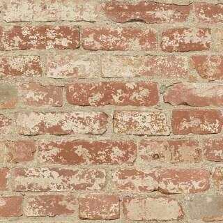 "RoomMates RMK9035WP 20-1/2"" x 198"" - Stuccoed Red Brick - Self Adhesive Vinyl Film - 28.18 Sq. Ft."