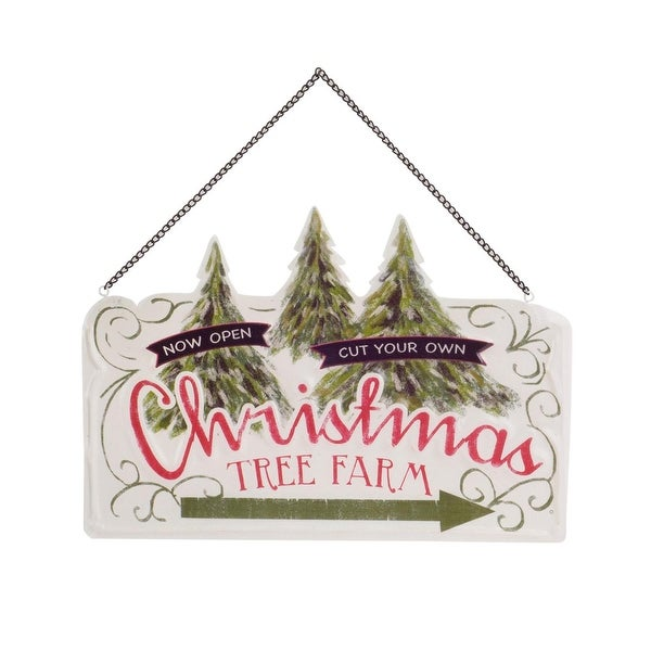 """Pack of 6 White and Red Rustic """"Christmas Tree Farm"""" Signs 11.75"""""""