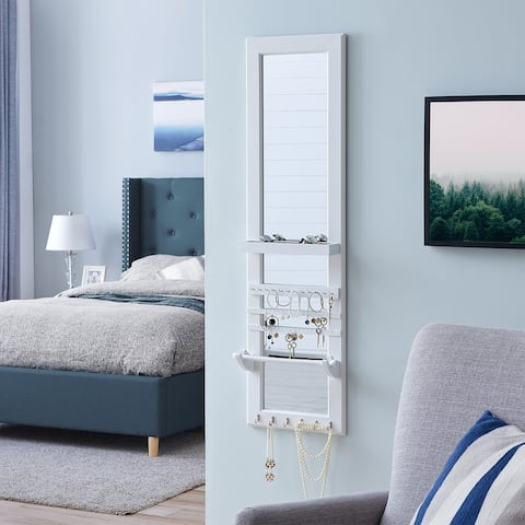 FirsTime & Co.® Ava Mirrored Jewelry Organizer, American Crafted, Satin White, Wood, 13 x 5 x 46.5 in - 13 x 5 x 46.5 in
