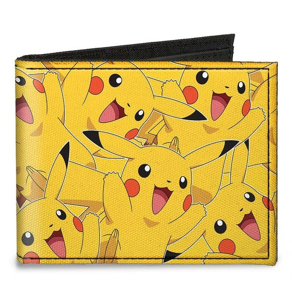 Pikachu Stacked Canvas Bi Fold Wallet One Size - One Size Fits most