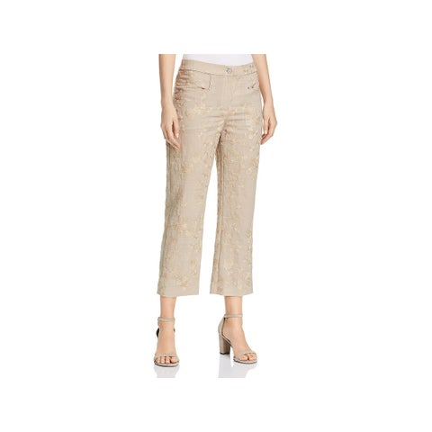 T Tahari Womens Naima Cropped Pants Embroidered Dressy