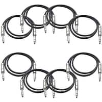 "SEISMIC AUDIO  8 PACK Black 1/4"" TRS 2' Patch Cables"