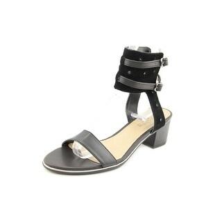 Kenneth Cole Reaction Slaw-Ter Women Open Toe Leather Black Sandals