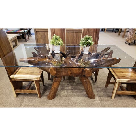 Chic Teak Rustic Teak Wood Root Dining Table Including 87 x 43 Inch Glass Top