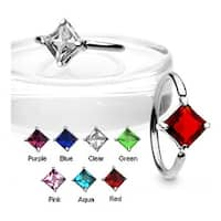 """316 Surgical Surgical Steel Captive Bead Ring with Solitaire CZ Stone - 14GA 1/2"""" Long (Sold Ind.)"""