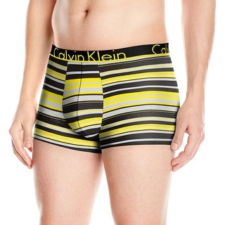 Calvin Klein Yellow Black Size Large L Lucas Logo Striped Boxer Briefs 301