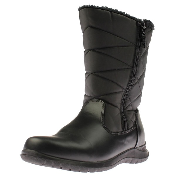 Totes Womens Edgen Faux Leather Waterproof Snow Boots