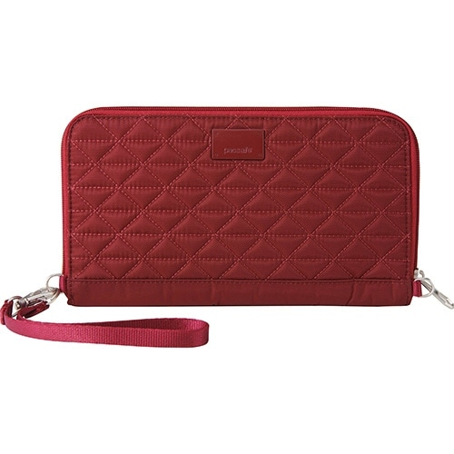 Pacsafe RFIDsafe W200 - Cranberry Blocking Travel Wallet w/ Detachable Strap