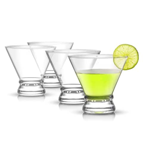 JoyJolt Afina Stemless Martini Glasses, 8 oz Cocktail Glasses Set of 4