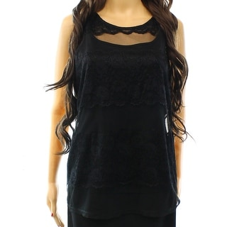 INC NEW Black Women's Size Medium M Lace Illusion Tank Blouse Set