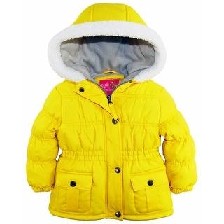 Pink Platinum Baby Girls Sherpa Trim Hood Fleece Lined Winter Puffer Jacket Coat