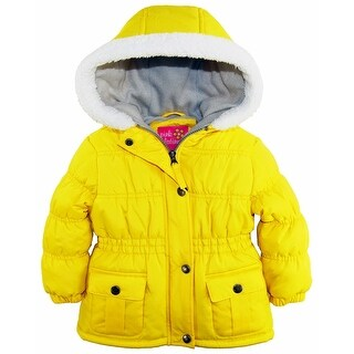 Pink Platinum Baby Girls Sherpa Trim Hood Fleece Lined Winter Puffer Jacket Coat