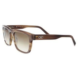Salvatore Ferragamo SF827S 216 Striped Brown Modified Rectangle Sunglasses - 51-21-145