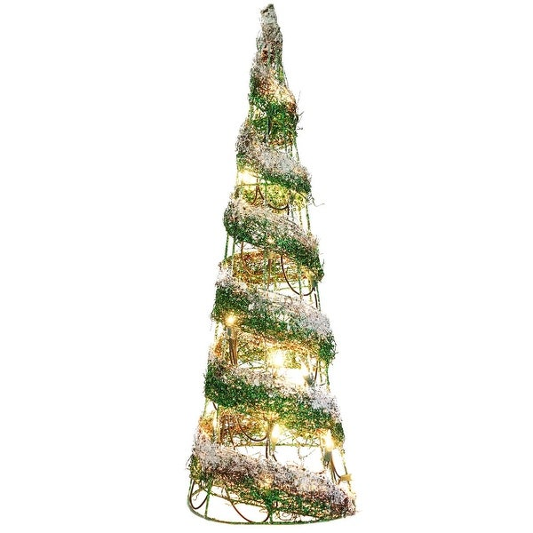 2.5' Pre-Lit Frosted Green Glitter Artificial Christmas Tree - Clear Lights