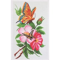 Collection D'art Stamped Cross Stitch Kit 28X37cm-Butterfly On Flower