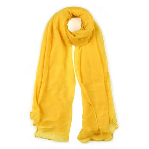 """Long Warm Shawl Large Soft Solid Color Scarf for Women Men Yellow-3 - Yellow - 75""""x 39"""""""