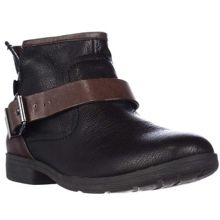 BCBGeneration Rough Ankle Strap Casual Ankle Boots - Black/Oak