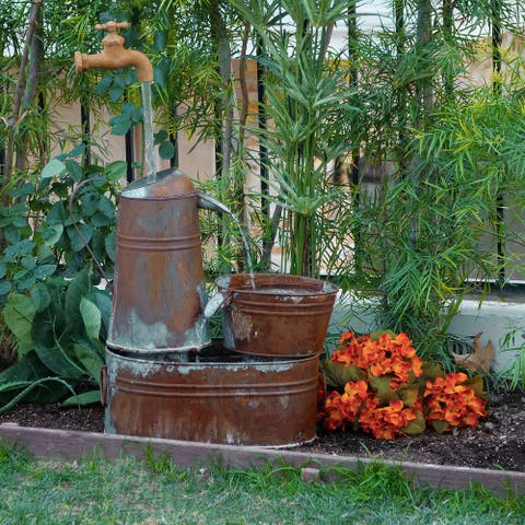 Alpine Corporation Rustic Watering Can Fountain with Invisible Spout