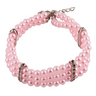 Puppy Plastic Three Rows Round Beads Linked Necklace Light pink