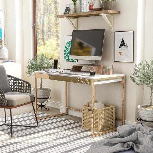 Furniture of America Arthur Modern Copper Tone 2-drawer Desk. Opens flyout.