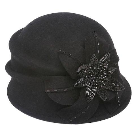 Womens Fashion Cloche Hat w/ Floral Bow