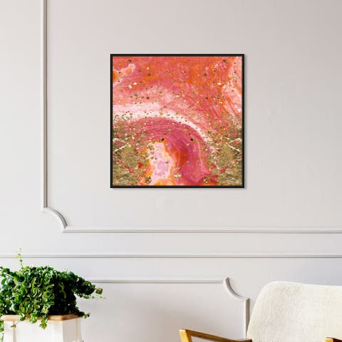 Oliver Gal 'Koi Stone' Abstract Wall Art Framed Canvas Print Crystals - Orange, Gold