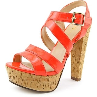 Famous Name Brand Kali Women Open Toe Synthetic Orange Platform Heel