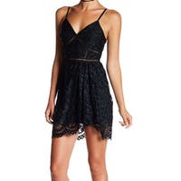 Minuet Black Women's Large V-Neck Lace Sheath Dress