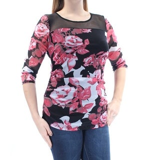 Womens Red Floral 3/4 Sleeve Jewel Neck Top Size XL