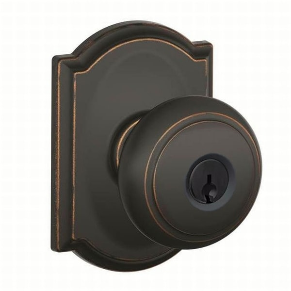 Schlage F51-AND-CAM Andover Keyed Entry Panic Proof Door Knob Set with Decorative Camelot Trim - Aged Bronze