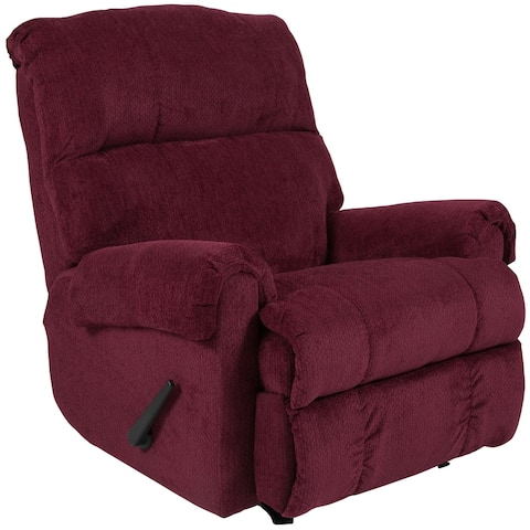 Contemporary Rocker Recliner with Rolled Arms