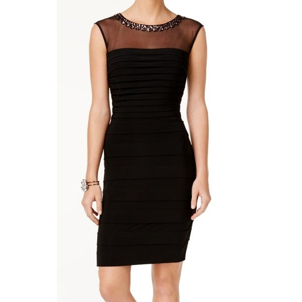 3a84cb0b88d68 Xscape NEW Black Illusion Shutter Pleated 12 Stretch Bodycon Dress