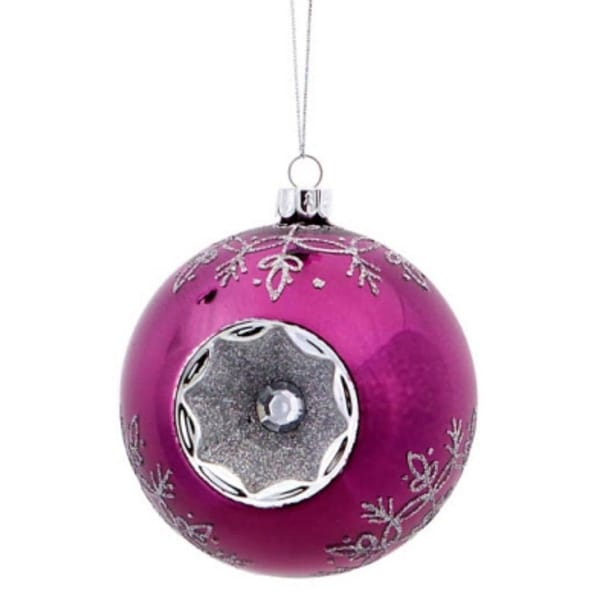 Shiny Purple Snowflake Witches Eye Christmas Glass Ball Ornament 3.5""