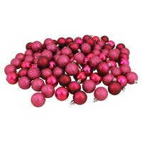 """96ct Red Raspberry Shatterproof 4-Finish Christmas Ball Ornaments 1.5"""" (40mm)"""